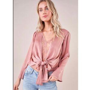 Ravishing Pink lace Wrap top